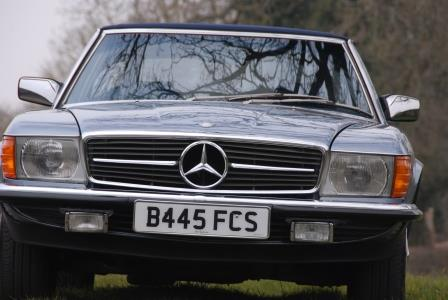 Great Escape Classic Car Hire Mercedes R107 SL convertible for self drive rental in the Cotswolds