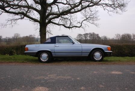 Great Escape Classic Car Hire Mercedes SL R107 convertible for self drive rental in the Cotswolds