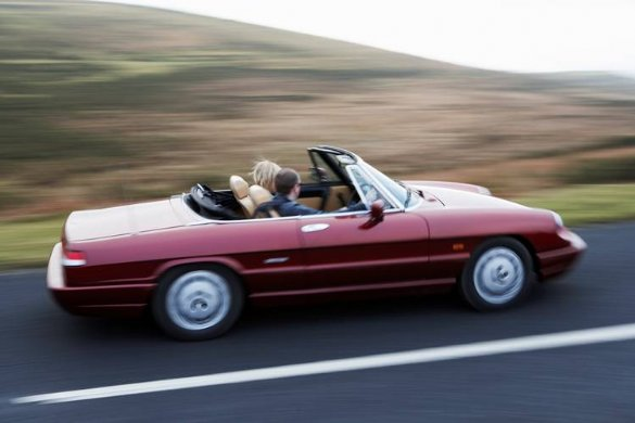 Great Escape Classic Car Hire Alfa Romeo Spider self drive classic wedding car for the groom and best man