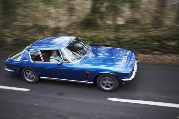 Great Escape Classic Car Hire 1974 Jensen Interceptor with blue paintwork and burgundy interior is ideal for a 30th birthday present