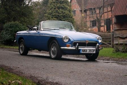 Great Escape Classic Car Hire MGB convertible for self drive rental in the Cotswolds