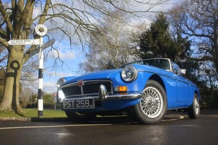 Classic MGB convertible for self drive wedding hire