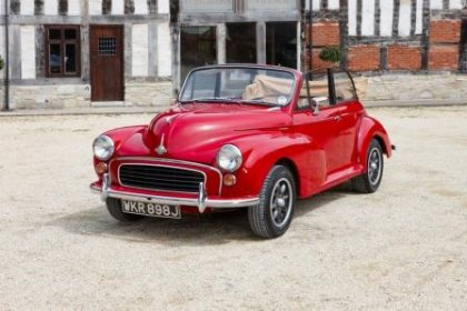 Hire a Morris Minor convertible in red in the Cotswolds