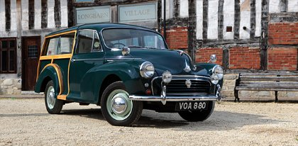 Great Escape Cars Morris Minor Traveller for hire in the Cotswolds