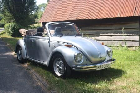 Great Escape Classic Car Hire VW Beetle Karmann convertible for self drive rental in the Cotswolds for weddings and weekends