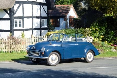 Hire a Morris Minor convertible in blue in the Cotswolds