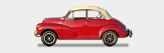 Great Escape Classic Car Hire Morris Minor Convertible for rental in the Cotswolds