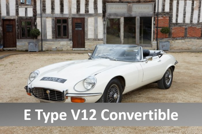 Jaguar E Type V12 convertible for hire