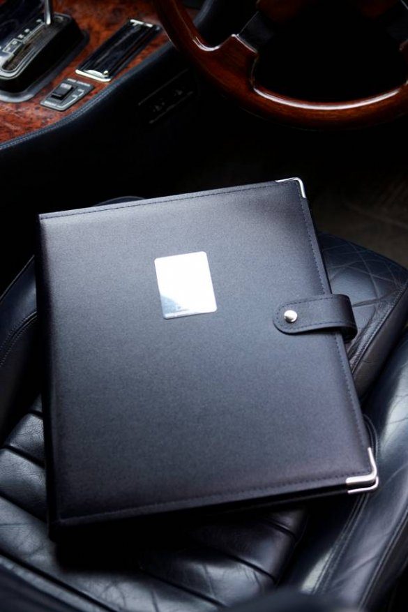 Great Escape Classic Car Hire in-car leather-bound and individually engraved informatin folder