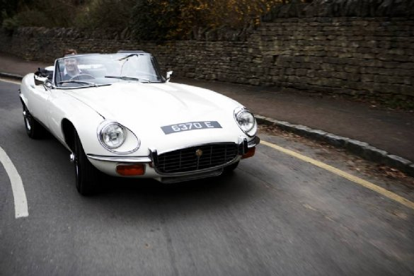 Great Escape Classic Car Hire Jaguar E Type V12 convertible for self drive rental in the Cotswolds