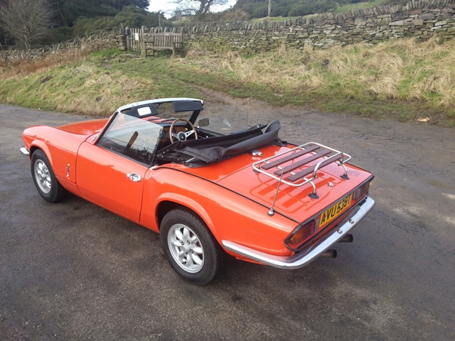 Great Escape Classic Car Hire Triumph Spitfire convertible for self drive rental in the Peak District