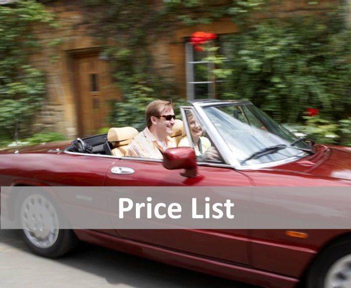 Check prices for Great Escape Cars classic car hire fleet
