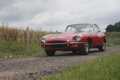 Great Escape Classic Car Hire Jaguar E Type coupe for self drive rental for 30th birthday gift