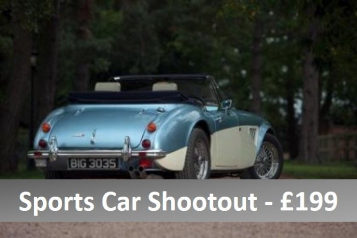 Three car sports car shootout in E Type, Healey and Porsche 911