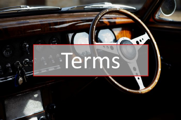 Terms & Conditions for classic car road trips - please read