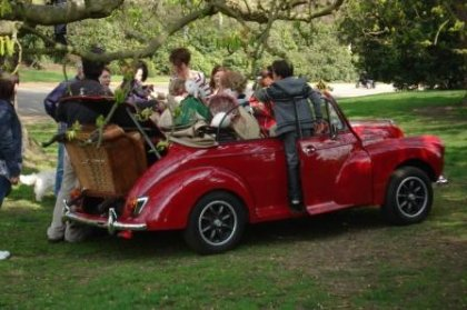 Great Escape Classic Car Hire red Morris Minor convertible based in Yorkshire was used for a photoshoot for a major high street brand