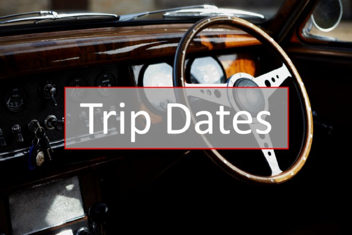 Dates of our half and full day road trips