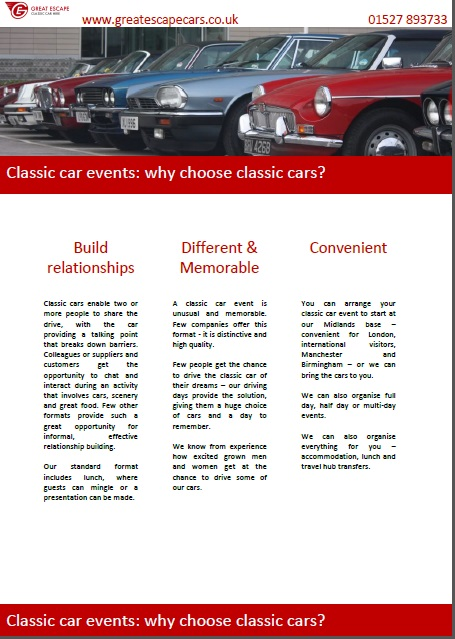 Great Escape Cars corporate events with classic cars