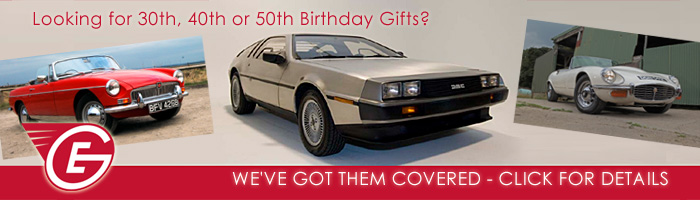 Great Escape Classic Car Hire 50th birthday gift packages for men or women.  Gift vouchers available valid 12 months